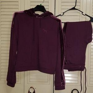 Vs PINK  purple velvet sweatsuit set